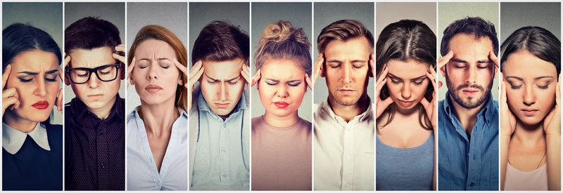 An collection of images all side-by-side of various people with migraine pain.